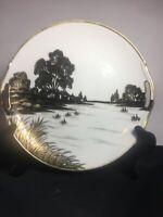 Nippon Japan Hand Painted Serving Platter Black/White/Gold Antique