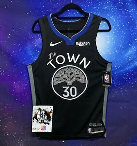 Stephen Curry Black Blue Nike The Town Authentic Warriors Jersey Sz 44 Nba