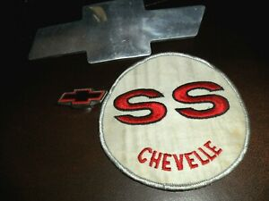 3 LOT ORIGINAL VINTAGE CHEVROLET BOWTIE & Chevelle SS Embroidered Patch 5X5""