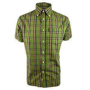 Trojan Mens Classic Check S/S B/D Shirt-Green