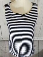 Gap Women's Size Med Blue And White Stripe Sleeveless Tank Top