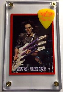 Steve Vai trading card limited to 200 / pink on neon yellow guitar pick display!