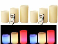 6 x Battery LED Colour Changing Candles Timer Flame Wax Candle Party Wedding New