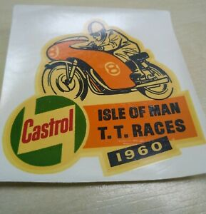 Isle of Man TT Races 1960 / Castrol - Original NOS Water Transfer Sticker