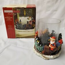 Living Home Hurricane Glass Candle Holder Santa Teddy Bear Christmas Train w/box