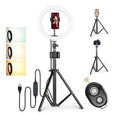 """D94D 10"""" LED Ringlicht mit Handyhalter Beauty Fotografie Lampe dimmbar + Stativ"""