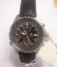 Casio EF-527L-1 Edifice Analog Chronograp Leather Band Black Watch 100% Original