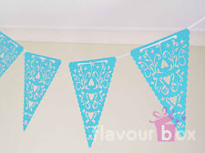Party Bunting BLUE Heart Laser Cut Pennant Kit Party Garland Decoration Flag