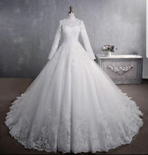 Real Image White Long Sleeve Lace Wedding Dresses A-line Bridal Gown Custom Size