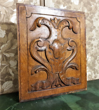 Gothic medieval wood carving panel Antique french blazon architectural salvage