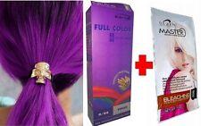 Hair COLOUR Permanent Hair Dye Cream Violet Purple 0.44 + WHITE BLEACH KIT