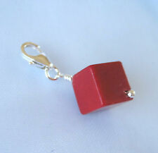 925 sterling silver natural RED CORAL CUBE gemstone bead clip on charm