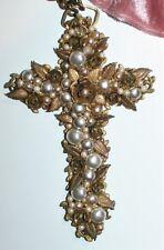 Vintage Cruz Collar Aus. diseñador Cluster perla colgante de hoja de oro X-Largo Regalo