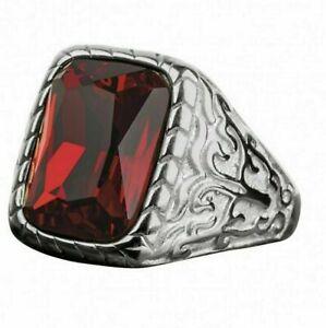 Natural Garnet Gemstone With 925 Sterling Silver Ring For Men's #36