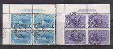 Canada #261 - #262 VF Used UL Plate Block Duo With S.O.N. Calgary Alberta CDS