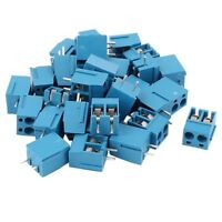 30Pcs 2 Way 2P PCB Mount Screw Terminal Block Connector 5.08mm Pitch Blue R8T1