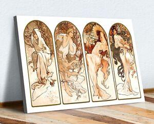 Mucha Four Seasons CANVAS WALL ART PRINT ARTWORK PAINTING FRAMED Art Nouveau