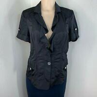 White House Black Market Blazer Jacket Size 12 Womens Frill Short Sleeve Top