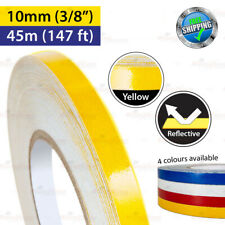 """YELLOW Reflective Conspicuity PinStripe Vinyl Decal Tape 10mm 3/8"""" 45m 147ft"""