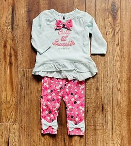 Sz 3-6Mos Baby Girls 2PC Outfit Set Mint Top & Pink Flowers Bow Cutie Pie Brand