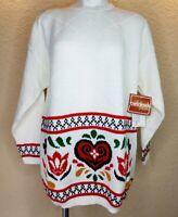 Vtg Beldoch Popper 80s Sweater Long Sleeve Folk Art White USA Made Large NWT