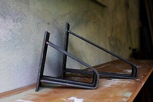 Metal Shelf Brackets Industrial Rustic Style For Solid Wood Shelves (Set of 2)