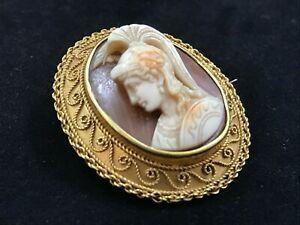 Victorian 18ct carat gold Etruscan high relief shell cameo Roman Centurion