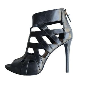 Guess Women's Black Leather Caged High Heels Size 9 M Strappy