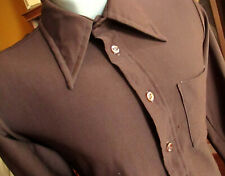 LARGE True Vtg 70s CHOCOLATE BROWN STETCH KNIT JC PENNEY BUTTON DOWN SHIRT