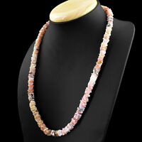 Untreated 219.50 Cts Natural Pink Australian Opal Heishi Beads Necklace (RS)