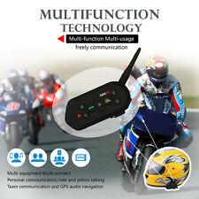 2x 1200M BT Bluetooth Motorcycle Helmet Interphone Intercom Headset 6 Riders