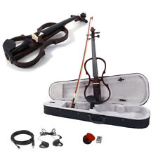 4/4 Electric Violin Silent Ebony parts Free Case+Bow Cable Rosin Headphone Line