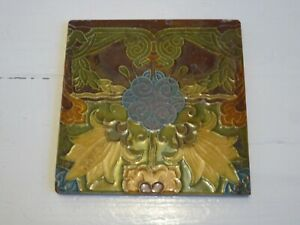 "SUPERB ANTIQUE MINTON SUCCESIONIST ART NOUVEAU TILE 6 x 6"" Ref#1"