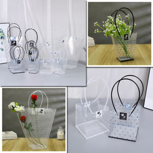 1PC Plastic Flower Tote Clear Gift Packaging Bag Box Wedding Party Favor Decor