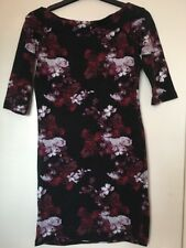 Size 8 ATMOSPHERE 3/4 Sleeve Stretchy Dress Black & Pinks Floral