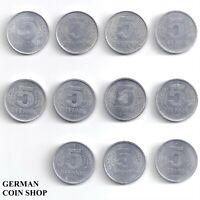 DDR - Set 11 verschiedene 5 Pfennig 1968 - 1990 A Aluminium