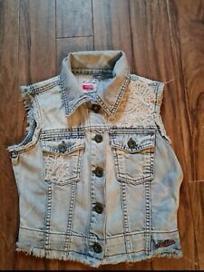 Womens ribbon denim waist coat size uk 8 very good condition