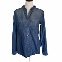 Cloth & Stone Womens Chambray Button Up Shirt Blue Long Sleeve Tencel USA S