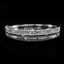 5.5Ct 100% Natural Diamond 18K White Gold Brilliant Bangle Bracelet BWG3-2