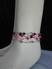 Women Silver Black Pink Big Beads Fashion Jewelry 5 Elastic Strands Rows Anklets