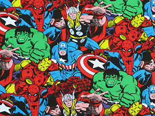 "MARVEL COMIC PACK  SUPERHERO FABRIC SUPER HERO HULK CAPTAIN AMERICA  21"" REMNANT"