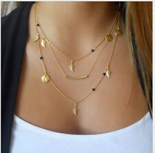 Three Gold Multi-layer Necklaces with Bar Leaves and Coins Gift USA Seller P28