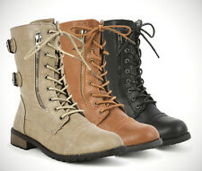 Womans Ladies Laced Military Style Combat Boots Shoes Black Tan Taupe RunSmall