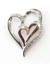 10k Two Tone Gold Diamond Heart Charm Necklace Pendant~1.0g