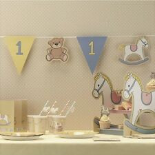 Boys 1st birthday bunting ROCK-A-BYE BABY party banner Blue & Yellow Pastel