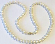 collier bijoux perles de verre nacrées blanches attache pas de vis * 4962