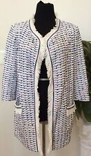 New  St. John Ivory Multi-Color Tweed Fringe Trim Long Jacket Size 6 Ret.$1395