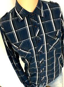 Eighty Eight Platinum Blue Plaid Button Down Shirt Large Mens Long Sleeve