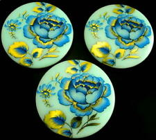 3 Czech Vaseline/Uranium Glass Buttons #B214 - XXLarge BLUE FLOWERS with GOLD!!!
