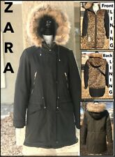 ZARA TRF (S) GREEN PARKA COAT wFAUX FUR LEOPARD BODY/HOOD LINED SZ SMALL BNWTS